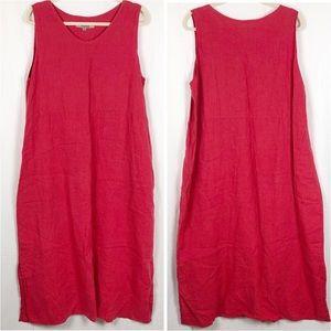 FLAX Midi Dress Raspberry Red Scoop neck Sz L